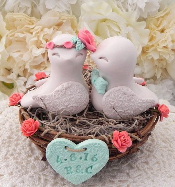 Rustic Love Bird Wedding Cake Topper -Coral, Beige and Mint Green, Love Birds in Nest - Personalized Heart
