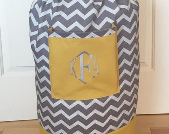 Monogrammed Laundry Duffel Bag, Yellow, Gray & White Chevron, Laundry Bag, Laundry Bag for College, Hanging Laundry Bag, Laundry Hamper