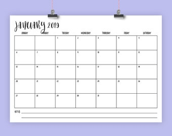 A4 2019 Calendar Template | INSTANT DOWNLOAD | 297 x 210 mm Modern Script Type Monthly Printable Minimal Desk Wall Calender | Print Ready