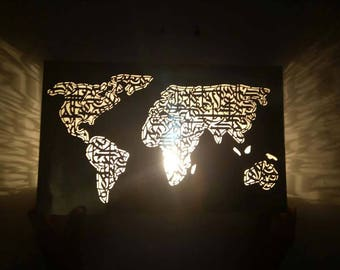 Trending arabic etsy stunning nickel silver world map wall lamp metal artworksconce light handmadearabic gumiabroncs Choice Image