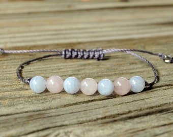 Blue Lace Agate Yoga Bracelet, Rose Quartz Yoga Bracelet, Throat Chakra, Heart Chakra, Meditation Bracelet, Calming, Love