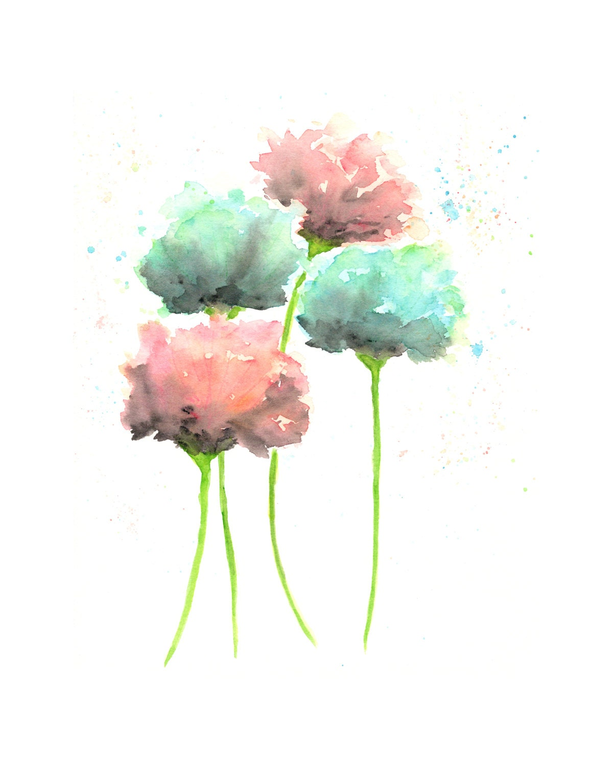 Country cottage decor watercolor flowers art watercolor for Watercolor flower images