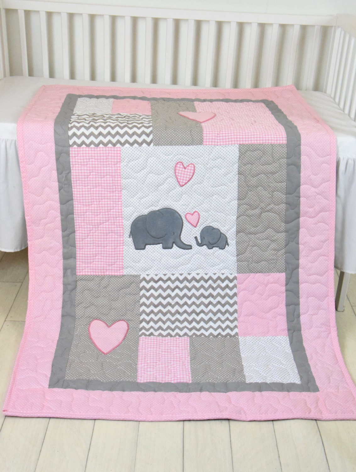 Pink Baby Blanket Elephant Crib Quilt Girl Bedding