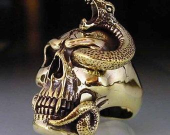 bronze ring SKULL with Snake  NEW (10)