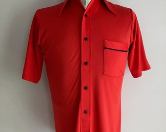 Vintage Men's 70's Red, Polyester, Polo Shirt, Short Sleeve by JC Penney (M)