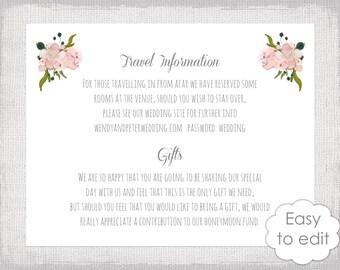 "Wedding details card template Blush pink DIY printable flower info card floral digital enclosure ""Tutti"" YOU edit instant download"