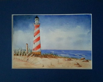 Watercolour painting of Red and white lighthouse