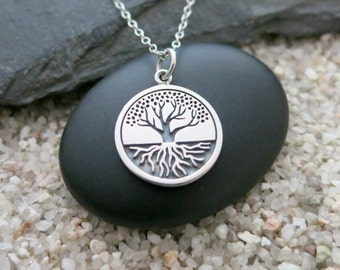 Tree of Life Necklace, Sterling Silver Tree with Roots Pendant, Nature Jewelry
