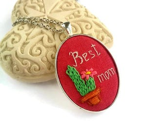 Birthday gift for mother day gift Succulent jewelry Red necklace Cactus necklace for best mom gift Nature jewelry Preppy pendant Woodland