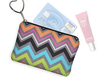 Colorful Chevron Small Zipper Pouch Coin Purse Keychain Key Fob Business Card Case Purse Organizer pink blue green gray  RTS