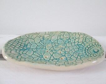 lace soap dish, ceramic soap dish, light turquoise soap dish, soap dish handmade handmade pottery, turquoise pottery, soap bowl, soap holder