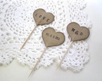 Cupcake Toppers - 12 kraft PERSONALIZED HEART cupcake picks - wedding decor, baby shower, Valentine, Birthday