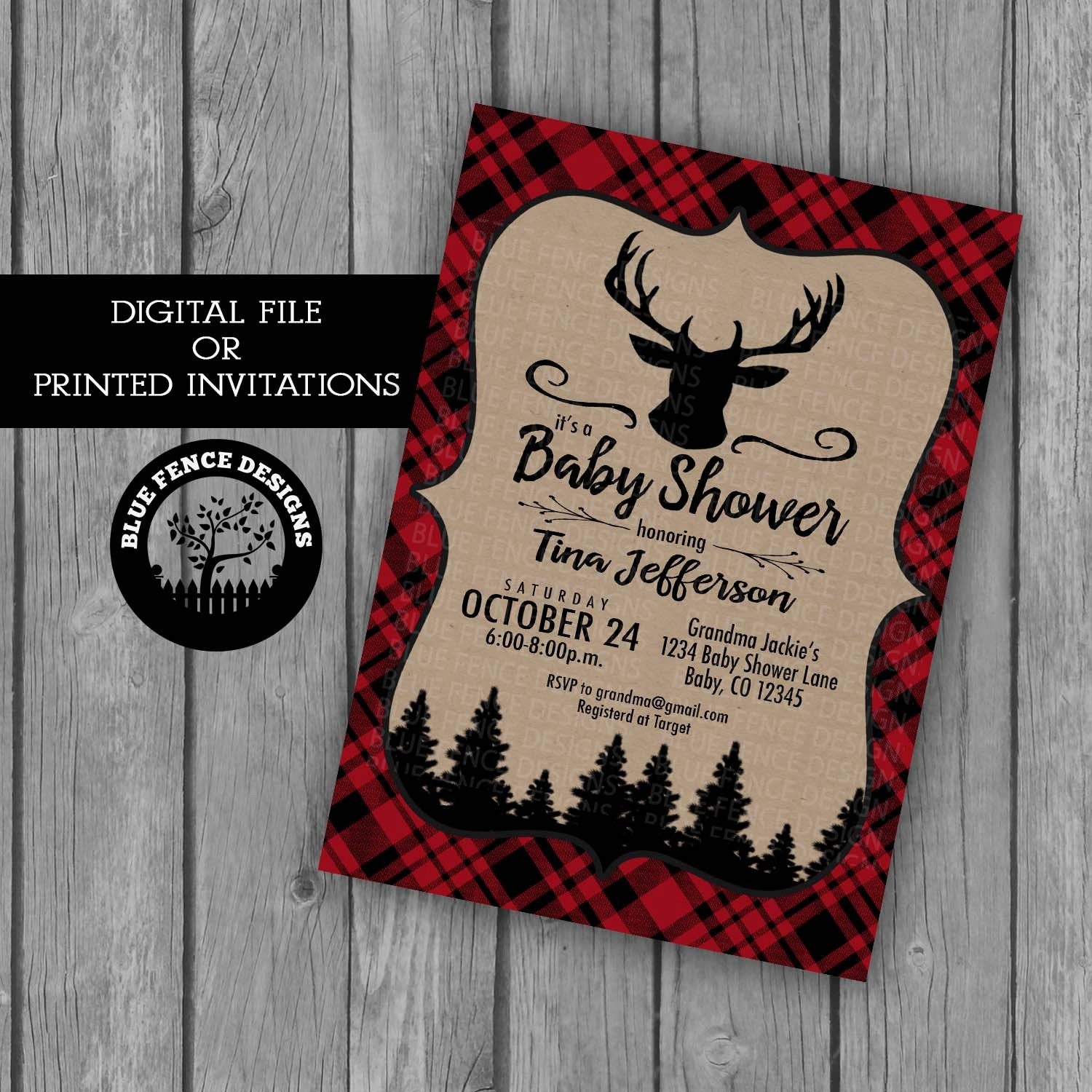 Baby Boy Shower Invitation Red Plaid Boy Baby Shower Themes