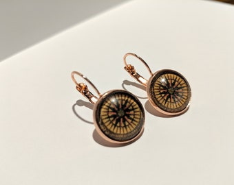Compass Earrings - Rose Gold - Antique Map