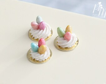 Three Handmade Miniature Meringue Nests with Colourful Candy Eggs - Miniature Food in 12th Scale for Dollhouse