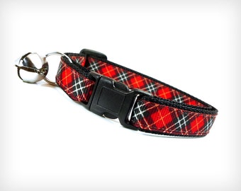 """Red Plaid Cat Collar - Breakaway Safety Buckle or Non-Breakaway - """"Rebel Yell"""" - British Red Tartan - Sizes for Cat, Kitten, Small Dog"""