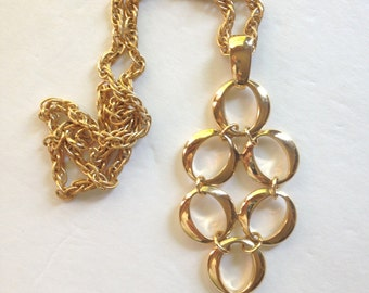 Crown Trifari Necklace Modernist Necklace Mid Century Jewelry Pendant Gold necklace
