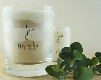 Large Breathe Candle - Fragranced with Lavender and Geranium.