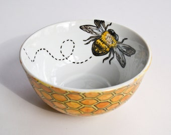 Bee & Honeycomb Bowl - Hand Painted