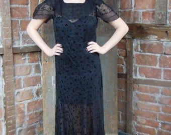On Sale 1930s Black Gown Dress - Flocked Sheer Gown-Large- Goth Wedding
