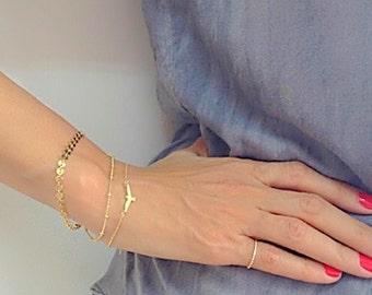 Delicate Gold Bird Bracelet, Gold Bracelet, Seagull Bracelet, Layered Bracelet, Dainty Bracelet, Layering, Gold Plated Bracelet