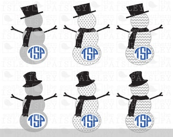 Snowman Monogram Frames - .svg/.eps/.dxf/.ai for Silhouette Studio, Cricut, or other cutting software