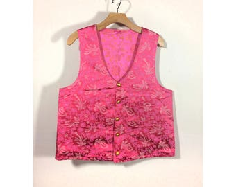 vintage men's pink phoenix floral brocade steampunk dandy formal vest waistcoat w/ gold buttons