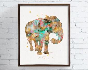 Elephant Watercolor Art, Elephant Print, Elephant Wall Decor, Nursery Art Print, African Animal, Wildlife, Kids Room, Childrens Room, Safari