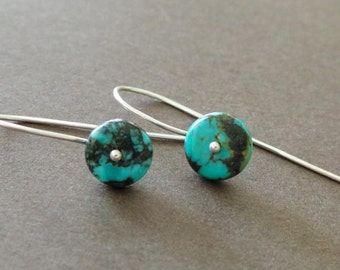 Petite Turquoise Earrings Sterling Birthstone Earrings Simple Modern Tiny Delicate Earrings Understated Earrings - Sample Sale