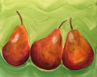 Pears on panel