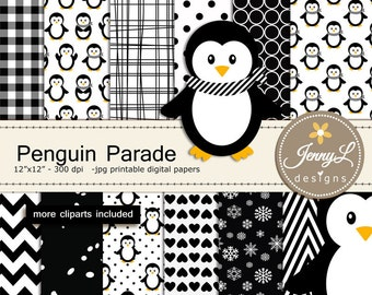 Penguin Digital Paper and Clipart, Winter Snow Penguins for Baby Shower, Birthday  and Scrapbooking Paper Party Theme,