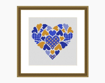 Cross Stitch Pattern, Modern Cross Stitch, MY HEART Blue/Yellow Cross Stitch Chart - Instant Download PDF