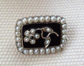 Mid 19th Century Forget-me-not Split Pearl Memorial Brooch