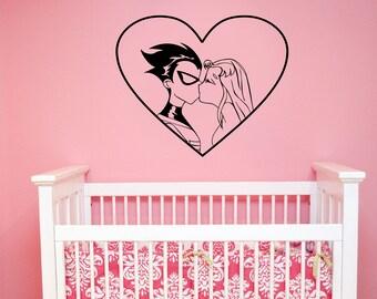 Teen Titans Wall Decal Robin and Starfire Vinyl Sticker Cartoon Superhero Art Romantic Love Heart Decorations for Home Kids Room Decor tt1
