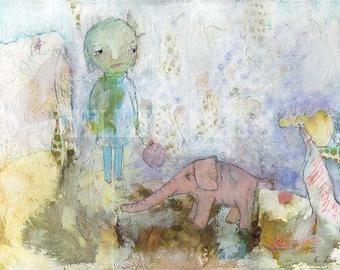 Girl With Elephant - Circus Time, Fine Art Print,  Giclée Print, 8 x 10, Ellifolks