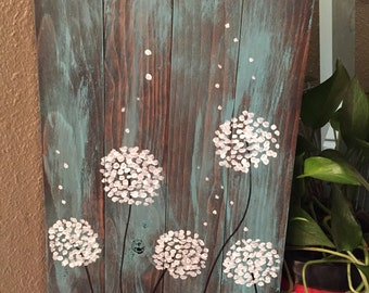 Dandelion Wishes Handpainted Wooden Sign | Reclaimed wood | Rustic | Teal