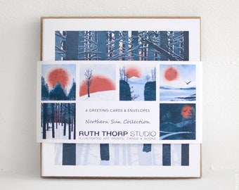 Pack of 6 Cards - Northern Sun Collection / landscape / nature / red sun / bird / fox / owl / mountain / sunset / stationery / blue / winter