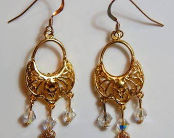 Gold Drops with Swarovski Crystals and 14k Gold Earwires