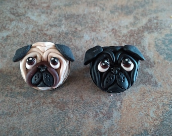 Fawn or black polymer clay Pug badges & magnets
