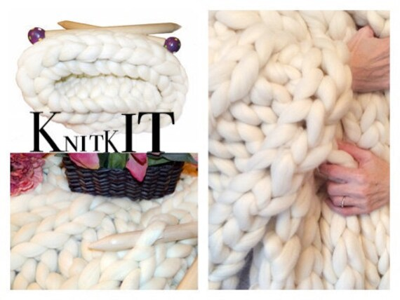 "Knit Kit, DIY Chunky Blanket, 24"" Giant Needles, 4.2 # SMOOSH Chunky Yarn, Tutorial, Patterns, Giant Needles"