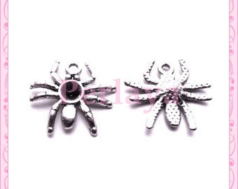 Set of 15 silver 2.2 cm REF906X3 metal spider charms