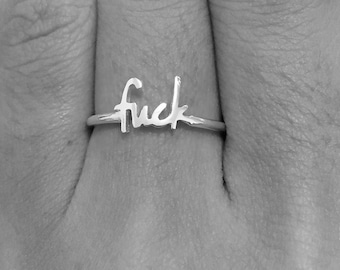 Fuck Ring, Dainty Ring, Fuck, Midi Ring, Simple Ring, Middle Finger, Mature, Minimal Ring, Knuckle Ring, Fuck Jewelry, Fuck Cancer, Fuck It