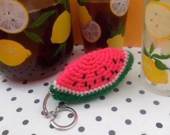 Watermelon keychain. Handmade crochet amigurumi. Kawaii gift