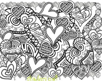 Zentangle Inspired Hearts Line Art Heart Coloring Pages Adult Page Detailed Digital
