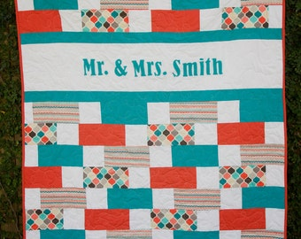 Wedding Quilt - Custom Name Quilt - Custom Wedding Quilt - Wedding Gift - Personalized Quilt - Anniversary Gift - Wedding Guestbook