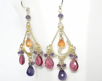 Multicolor Earrings Orange Purple Pink Chandelier Earrings Multicolor Chandelier Earrings Gold