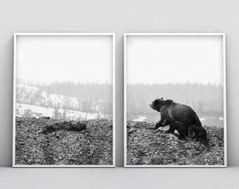 Modern Bear Print, Woodlands Nursery Animal, Printable Poster, Digital Download, Nursery Decor Wall Art, Black and White, Set of 2 Minimal