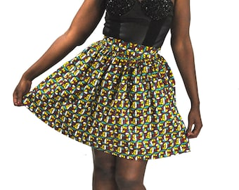 Wax African ankara skirt women printed multicolored 2xl size 52 large
