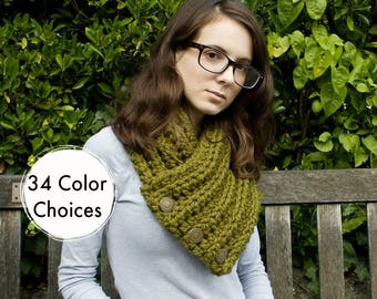 Crochet Cowl Chunky Scarf - Wellington Cowl in Olive Green Cowl Scarf - Green Cowl Green Scarf Olive Cowl Olive Scarf - 34 Color Choices