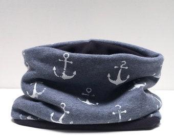 Snood enfant ancre marine bleu jeans foncé extensible et réversible fille garçon marin marinière